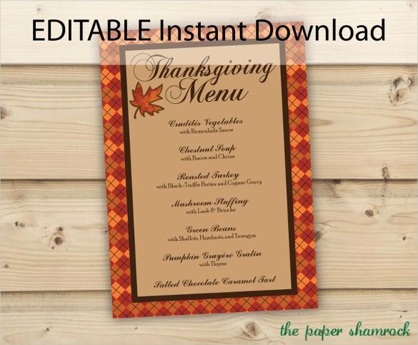 Printable Thanksgiving Menu Template Free Unique Thanksgiving