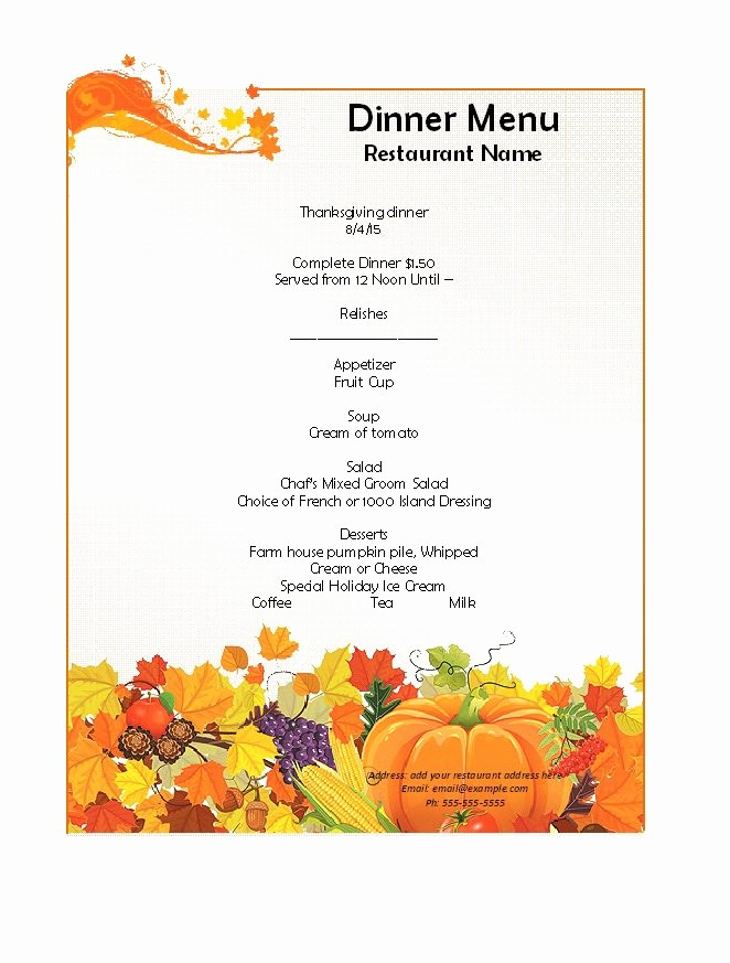Printable Thanksgiving Menu Template Free Fresh 30 Restaurant Menu Templates & Designs Template Lab