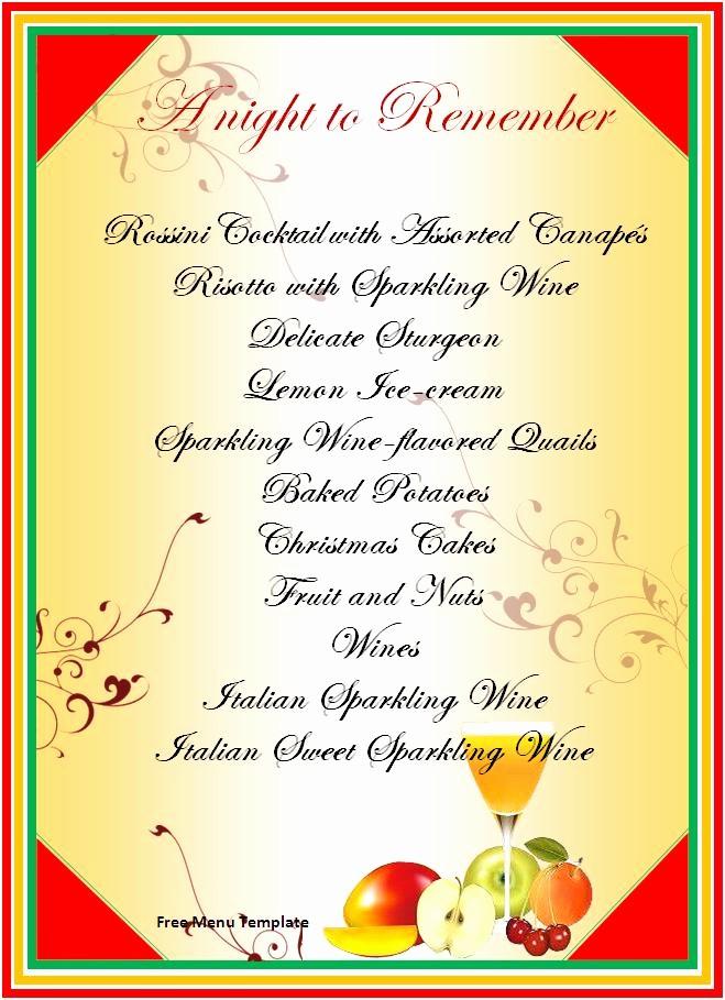Printable Thanksgiving Menu Template Free Fresh Free Menu Template Word