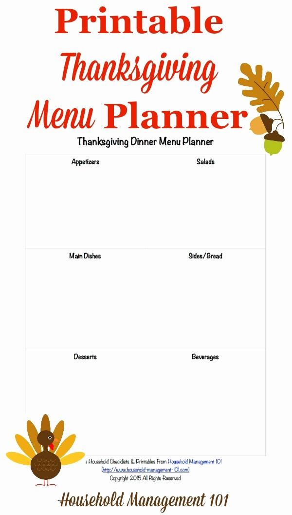 Printable Thanksgiving Menu Template Free Lovely Free Printable Thanksgiving Dinner Menu Planner