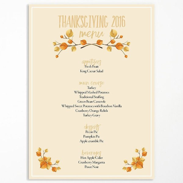 Printable Thanksgiving Menu Template Free Lovely Menu Template 21 Free Psd Eps Ai Indesign Word Pdf