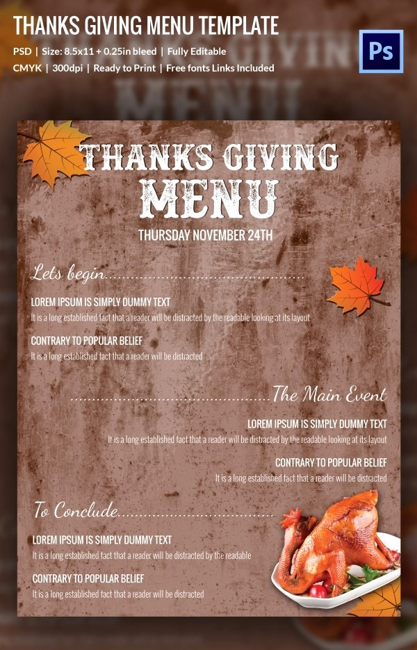 Printable Thanksgiving Menu Template Free Luxury 23 Thanksgiving Menu Templates Free Sample Example
