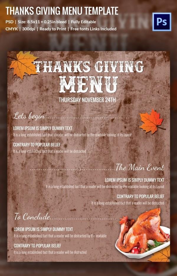 Printable Thanksgiving Menu Template Free Luxury 23 Thanksgiving Menu Templates Free Sample Example