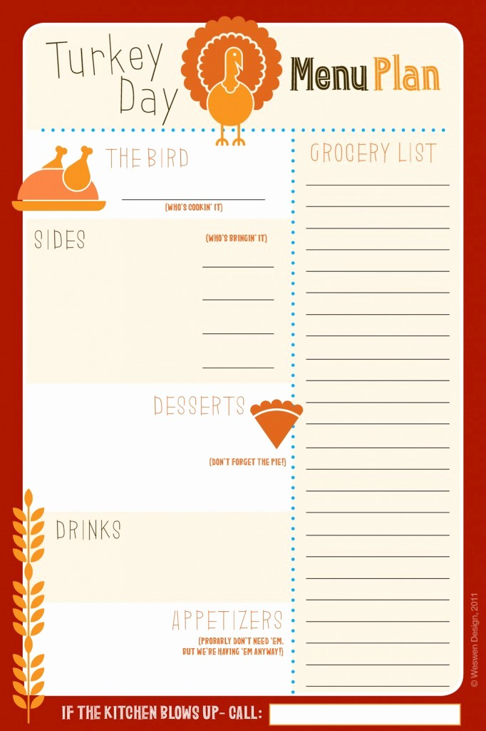 Printable Thanksgiving Menu Template Free Luxury 6 Best Of Thanksgiving Printable List