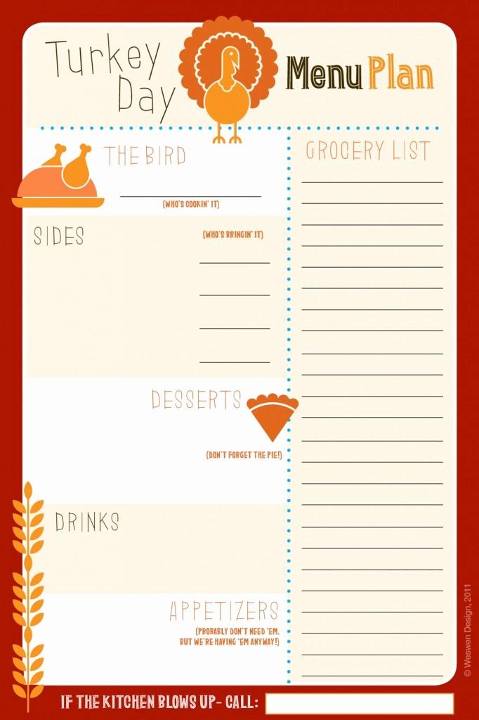 Printable Thanksgiving Menu Template Free Luxury 6 Best Of Thanksgiving Printable List