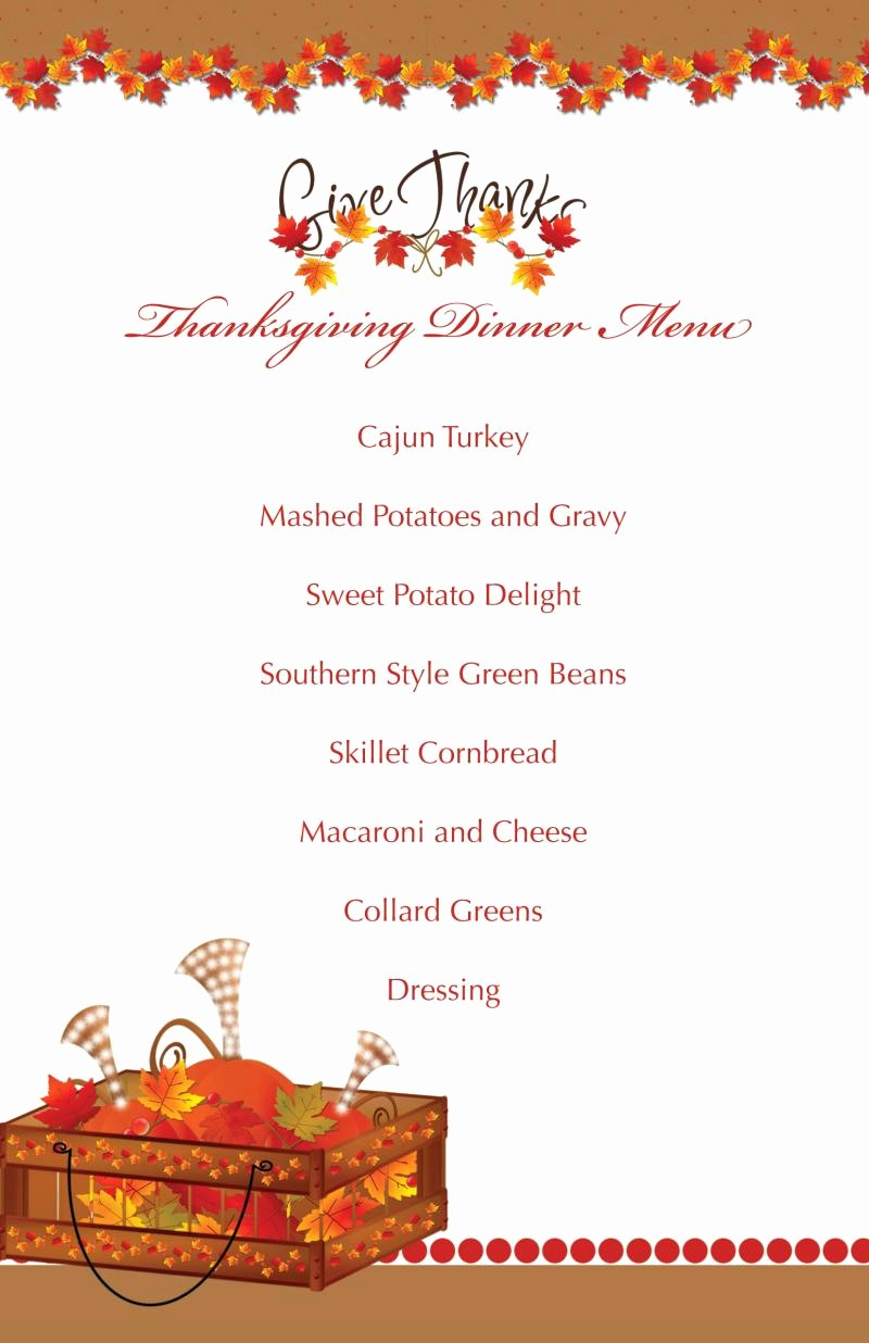 Printable Thanksgiving Menu Template Free Luxury Printable Thanksgiving Splendor Menu