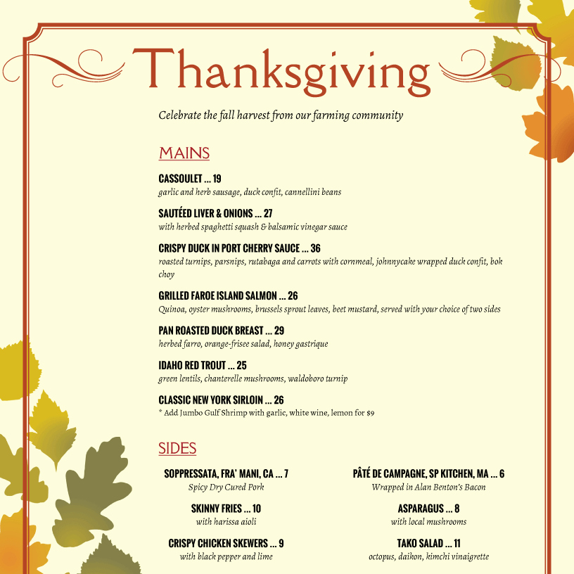 Printable Thanksgiving Menu Template Free Luxury Thanksgiving Menu Template