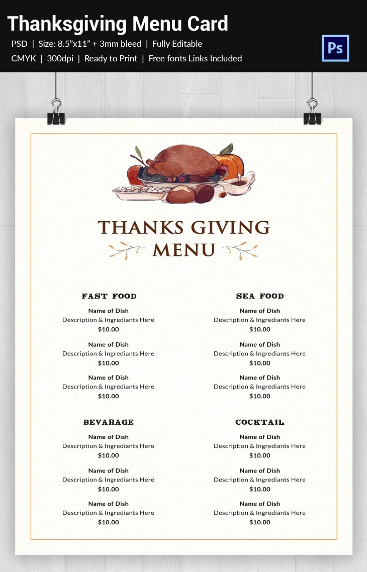 Printable Thanksgiving Menu Template Free Unique 30 Thanksgiving Freebies Designs