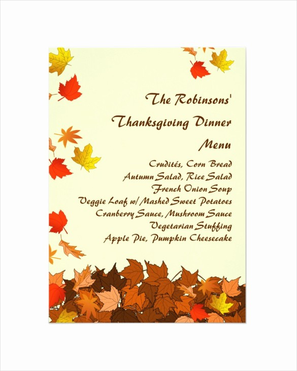Printable Thanksgiving Menu Template Free Beautiful Thanksgiving
