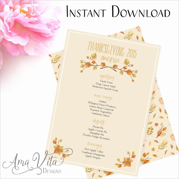 Printable Thanksgiving Menu Template Free Unique Thanksgiving Menu Template 27 Free Psd Eps format