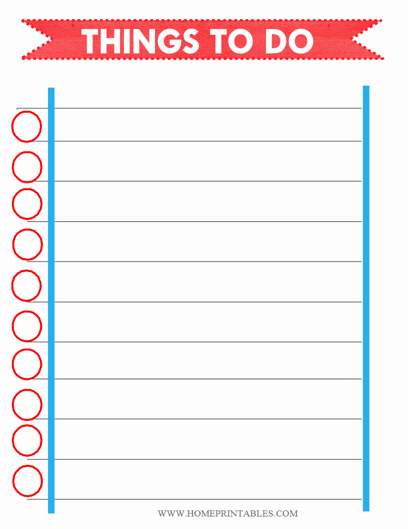 Printable Things to Do Lists Awesome Free Printable to Do List Home Printables
