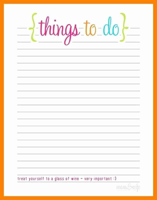 Printable Things to Do Lists Fresh Free Blank Printable to Do List Templates Word Excel Pdf