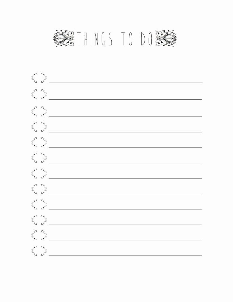 Printable Things to Do Lists Inspirational Things to Do Get organized This 2015