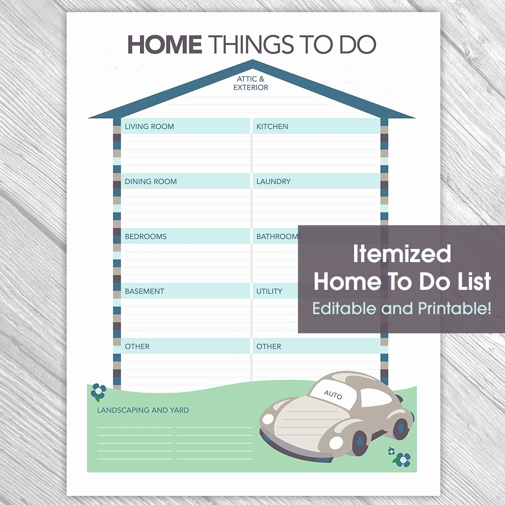 Printable Things to Do Lists Lovely Printable Editable Home to Do List Things to Do List Home