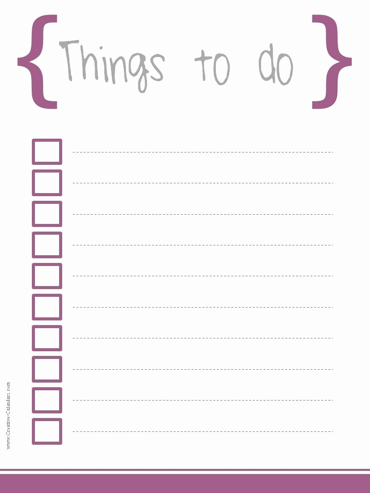 Printable Things to Do Lists Lovely to Do List Template
