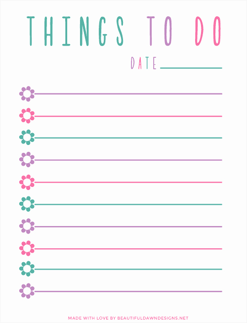 Printable Things to Do Lists Unique Free to Do List Printable Beautiful Dawn Designs