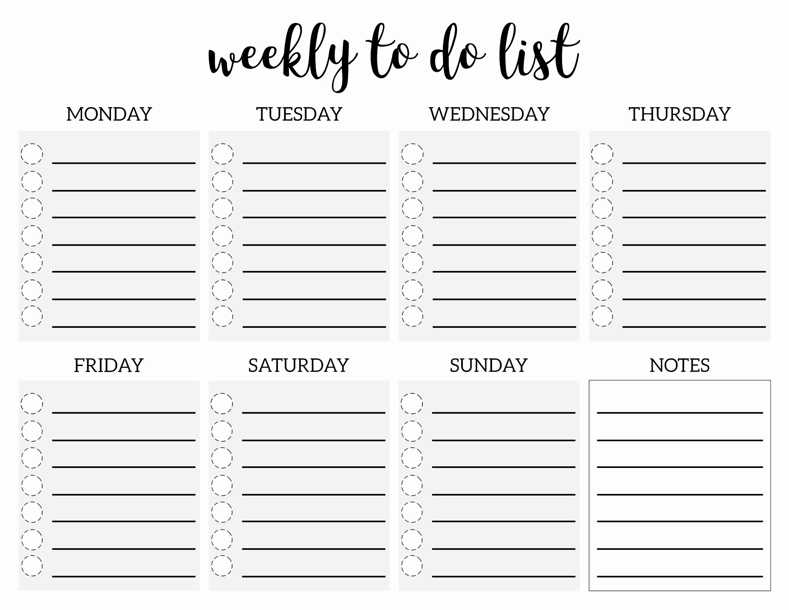 Printable to Do List Template New Weekly to Do List Printable Checklist Template Paper