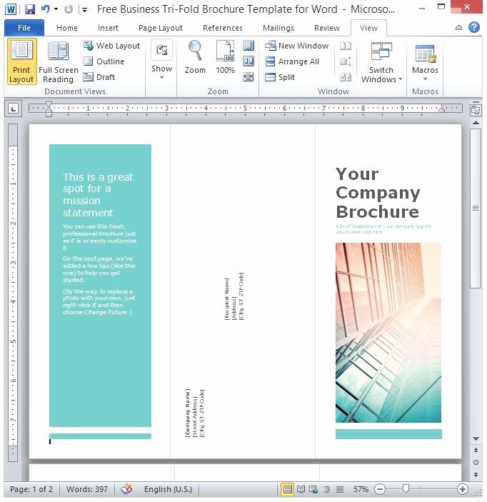 Printable Tri Fold Brochure Template Fresh Free Business Tri Fold Brochure Template for Word