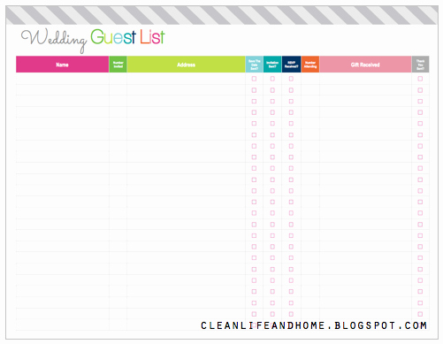 Printable Wedding Guest List organizer Awesome Clean Life and Home Freebie Friday Printable Wedding