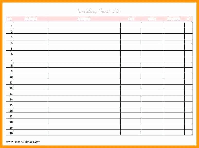 Printable Wedding Guest List organizer Awesome Printable Wedding Guest List organizer Template Excel