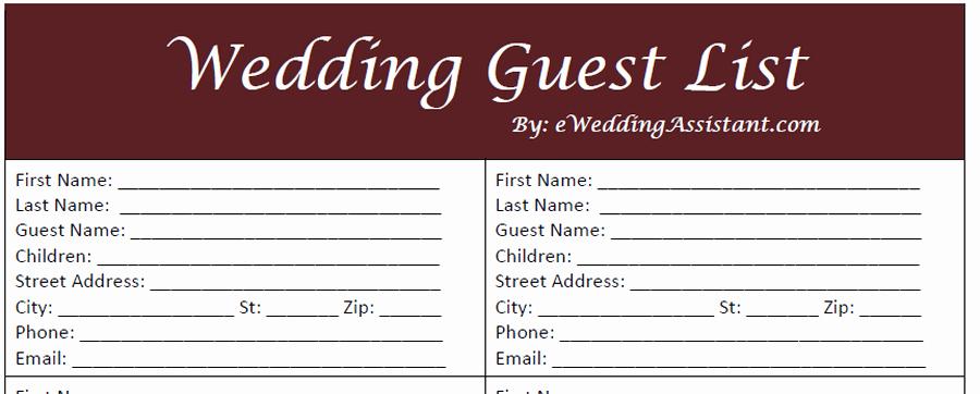 Printable Wedding Guest List organizer Best Of Free Printable Wedding Guest List Template