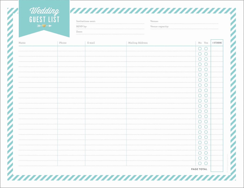 Printable Wedding Guest List organizer Elegant Free Wedding Planning Printables & Checklists