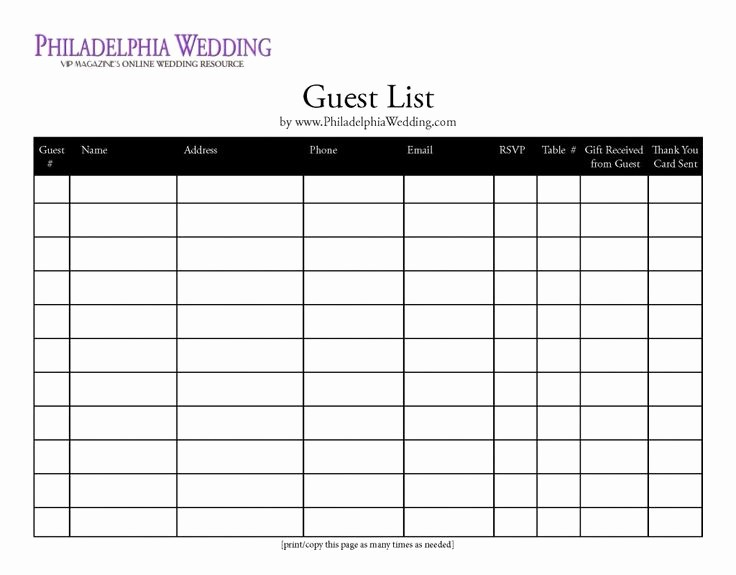 Printable Wedding Guest List organizer Elegant Wedding Guest List organizer Wedding Ideas