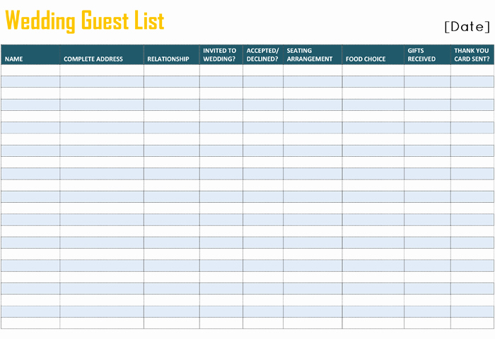 Printable Wedding Guest List organizer Luxury Printable Wedding Guest List Template for Word and Excel
