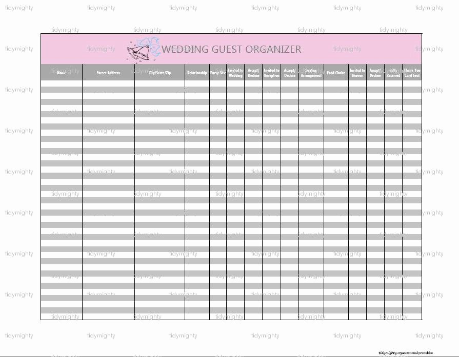 Printable Wedding Guest List organizer New Wedding Guest organizer Tracker Printable Pdf Instant