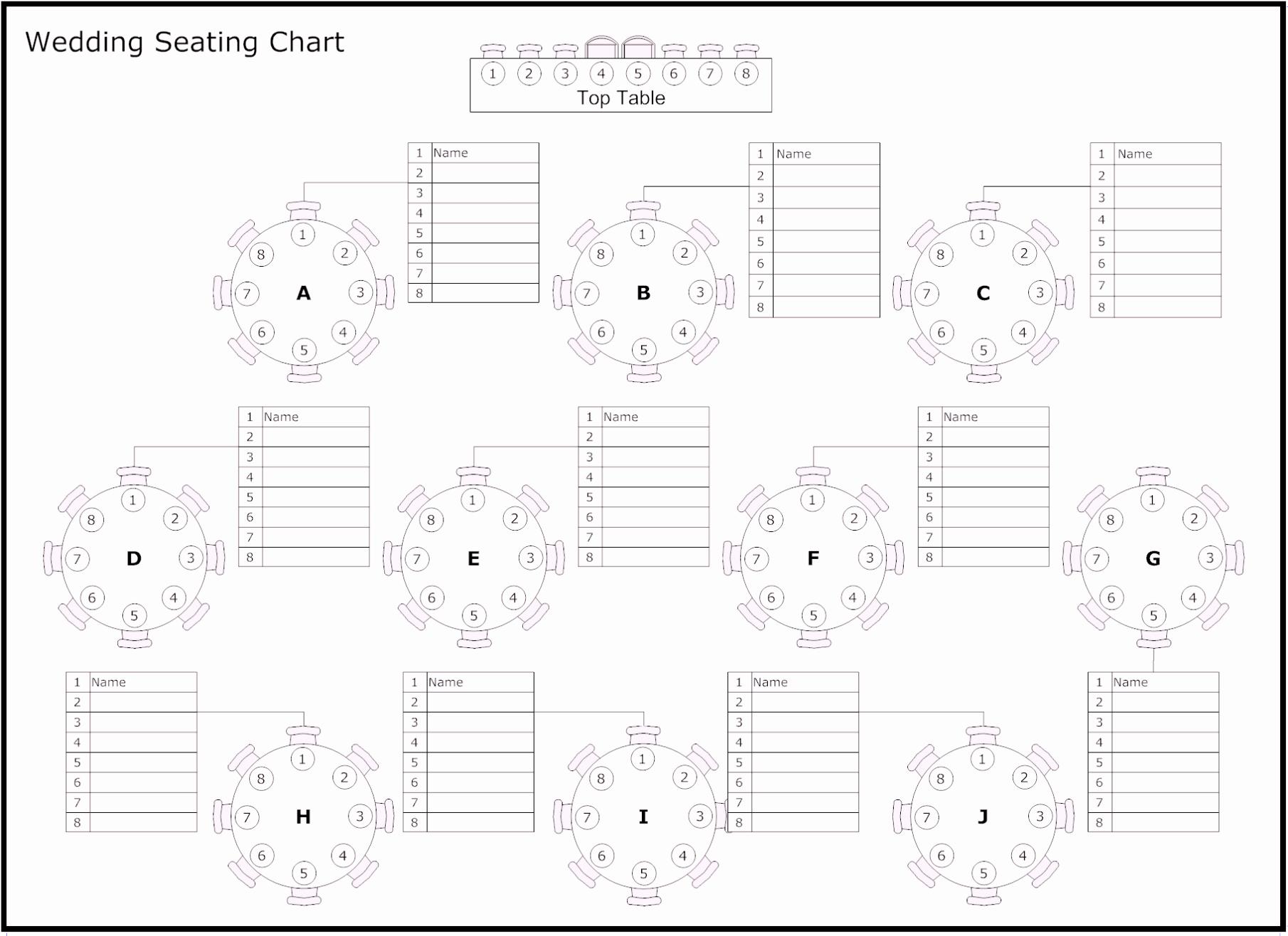 Printable Wedding Seating Chart Template Awesome Free Table Of Reception & Wedding Seating Chart Template