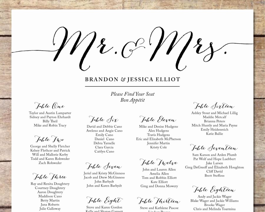 Printable Wedding Seating Chart Template Beautiful Simple Wedding Seating Chart Romantic Wedding