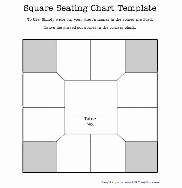 Printable Wedding Seating Chart Template Elegant Free Printable Square Table Seating Chart Template for