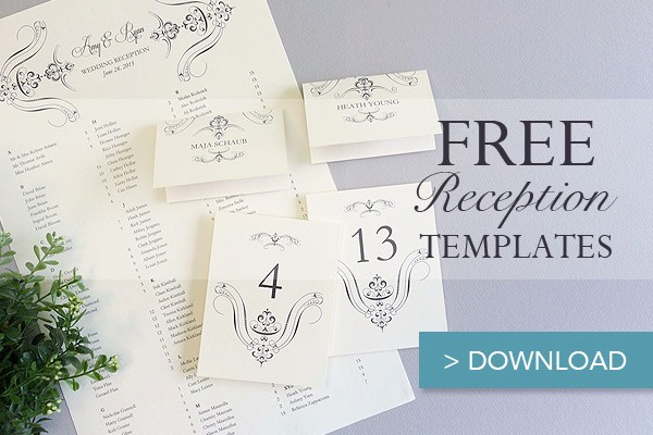 regal scroll reception set table numbers place cards and seating chart templates
