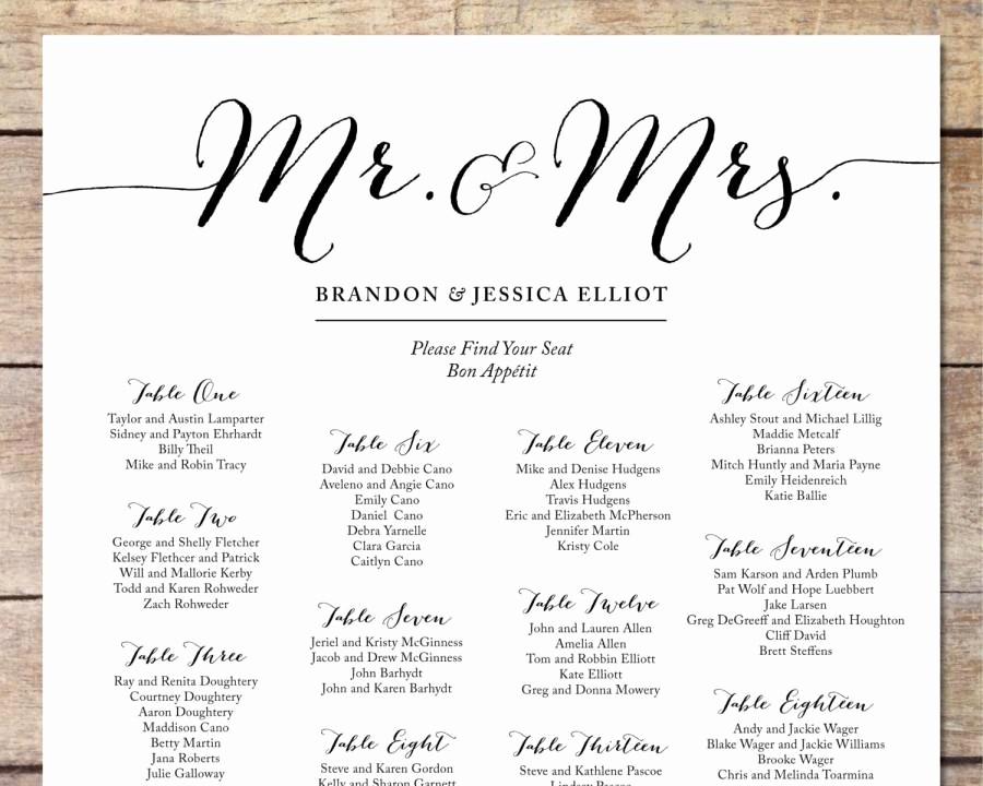 Printable Wedding Seating Chart Template Fresh Simple Wedding Seating Chart Romantic Wedding