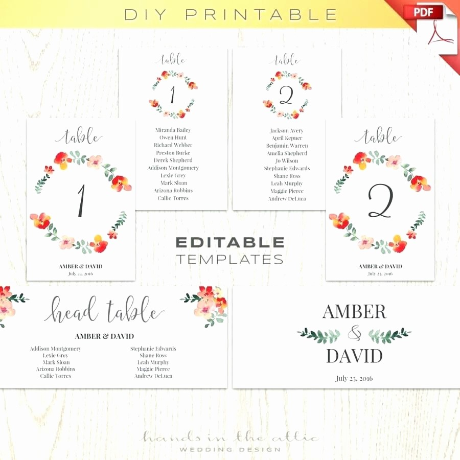 Printable Wedding Seating Chart Template Inspirational Printable Printable Wedding Table Number Template
