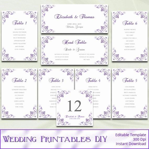 Printable Wedding Seating Chart Template Inspirational Printable Wedding Seating Chart Template Diy Purple Silver
