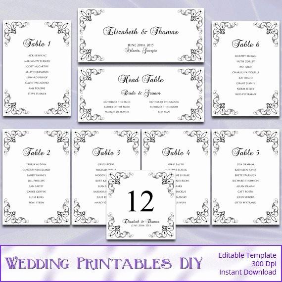 Printable Wedding Seating Chart Template Lovely Printable Wedding Seating Chart Template by