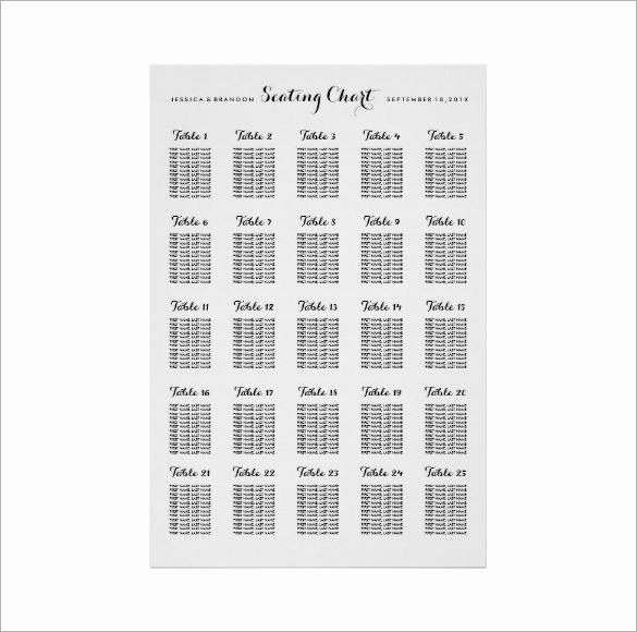 Printable Wedding Seating Chart Template Luxury Wedding Seating Chart Template