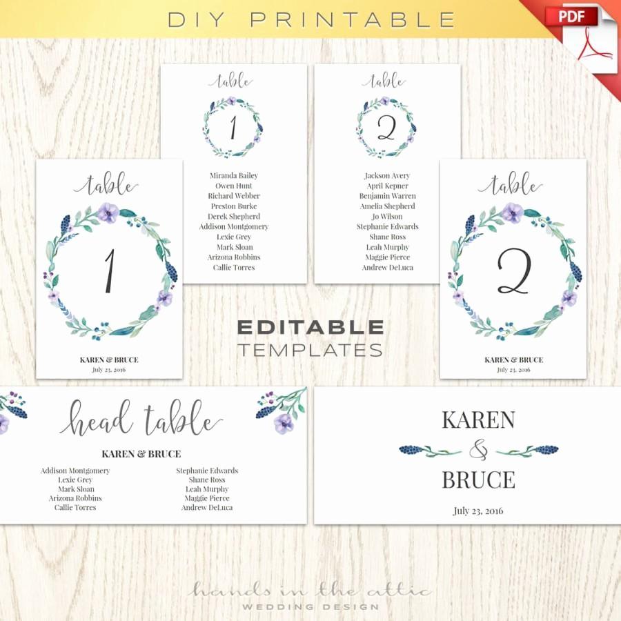 Printable Wedding Seating Chart Template New Floral Wedding Table Numbers Printable Template Seating