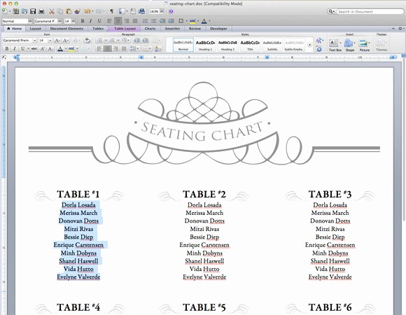 Printable Wedding Seating Chart Template New Free Printable Wedding Seating Chart Template