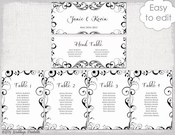 Printable Wedding Seating Chart Template New Wedding Seating Chart Template Black and White