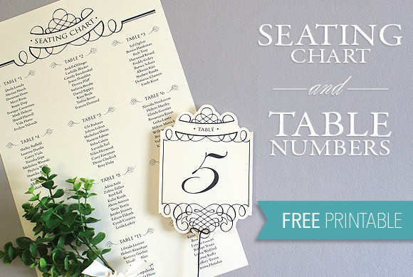 Printable Wedding Seating Chart Template Unique Printable Seating Chart & Table Number Template