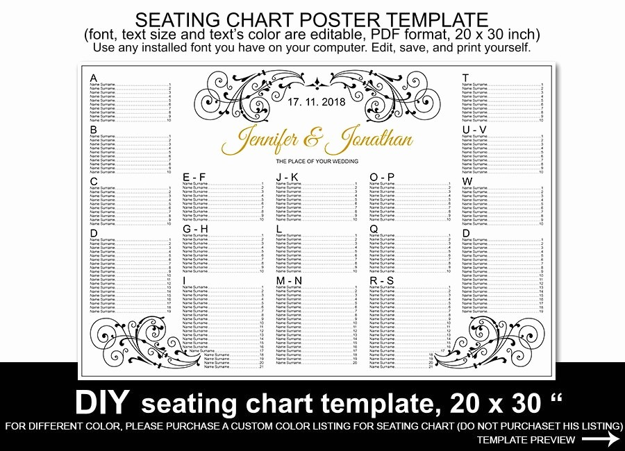 Printable Wedding Seating Chart Template Unique Wedding Seating Chart Poster Template Printable Reception