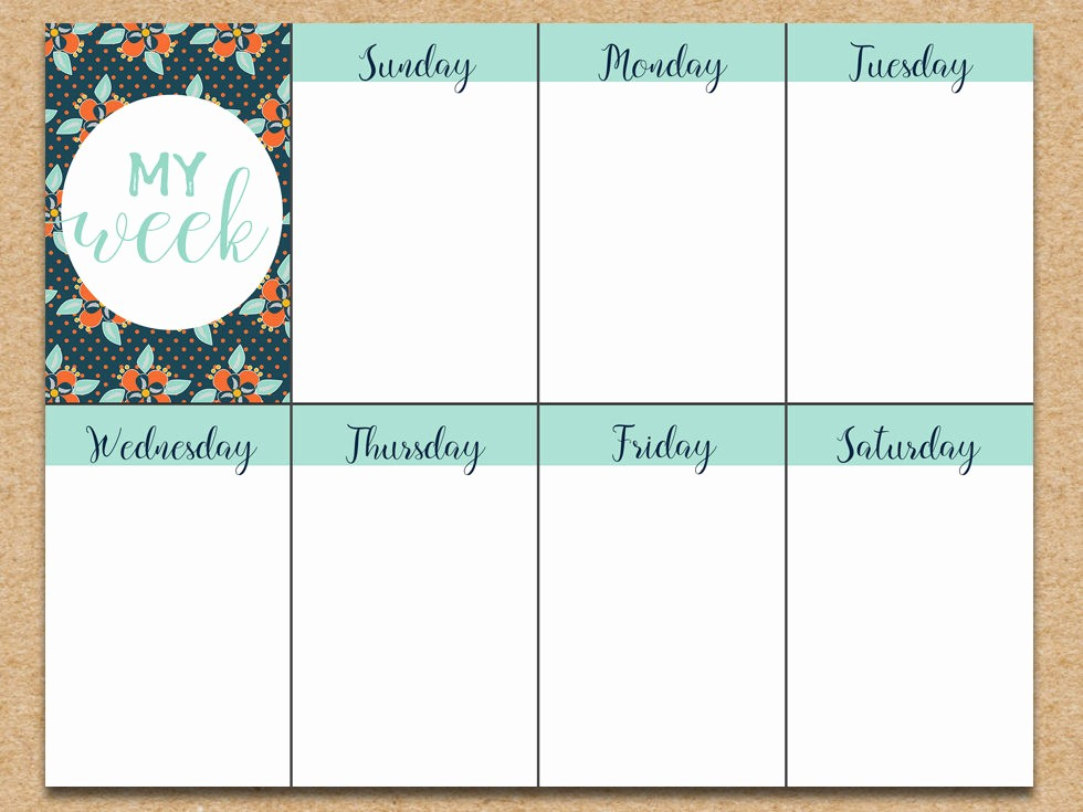 Printable Weekly Calendars with Times Best Of Free Weekly Planner Printable Summer Floral Six Clever