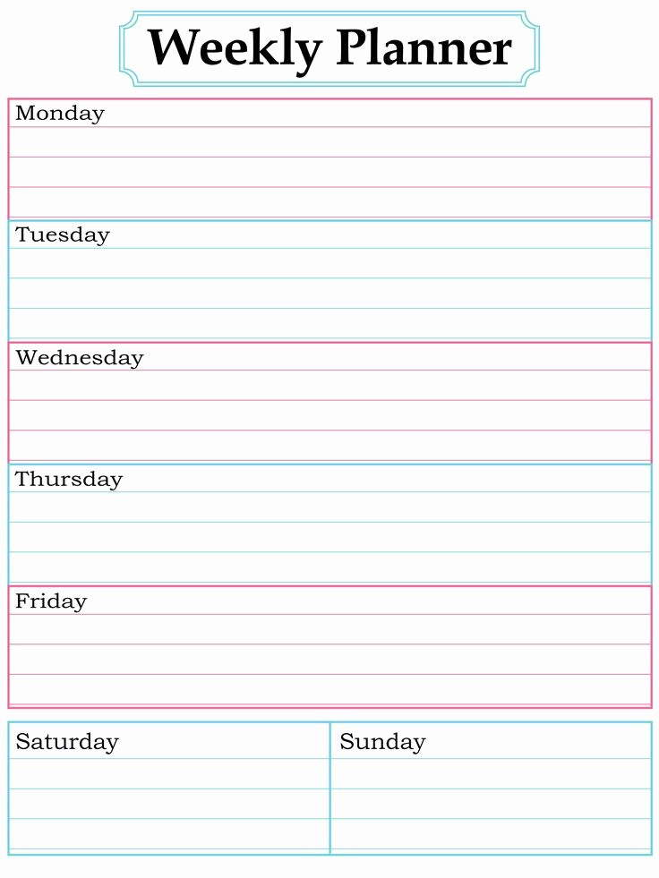 Printable Weekly Calendars with Times Best Of Weekly Planner Template Printable Free Printable Pages