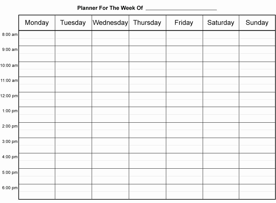 Printable Weekly Calendars with Times Inspirational Calendar Template with Time Slots Printable Weekly Planner