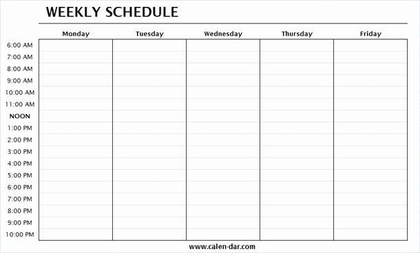 Printable Weekly Calendars with Times Luxury Monday Through Friday Printable Weekly Schedule