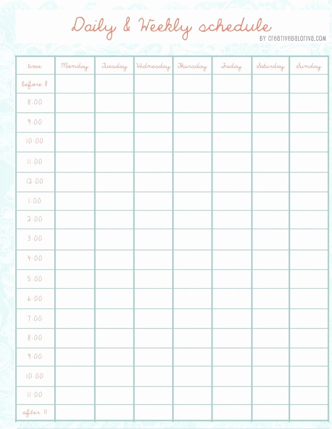 Printable Weekly Calendars with Times New Daily Weekly Schedule Template Printables