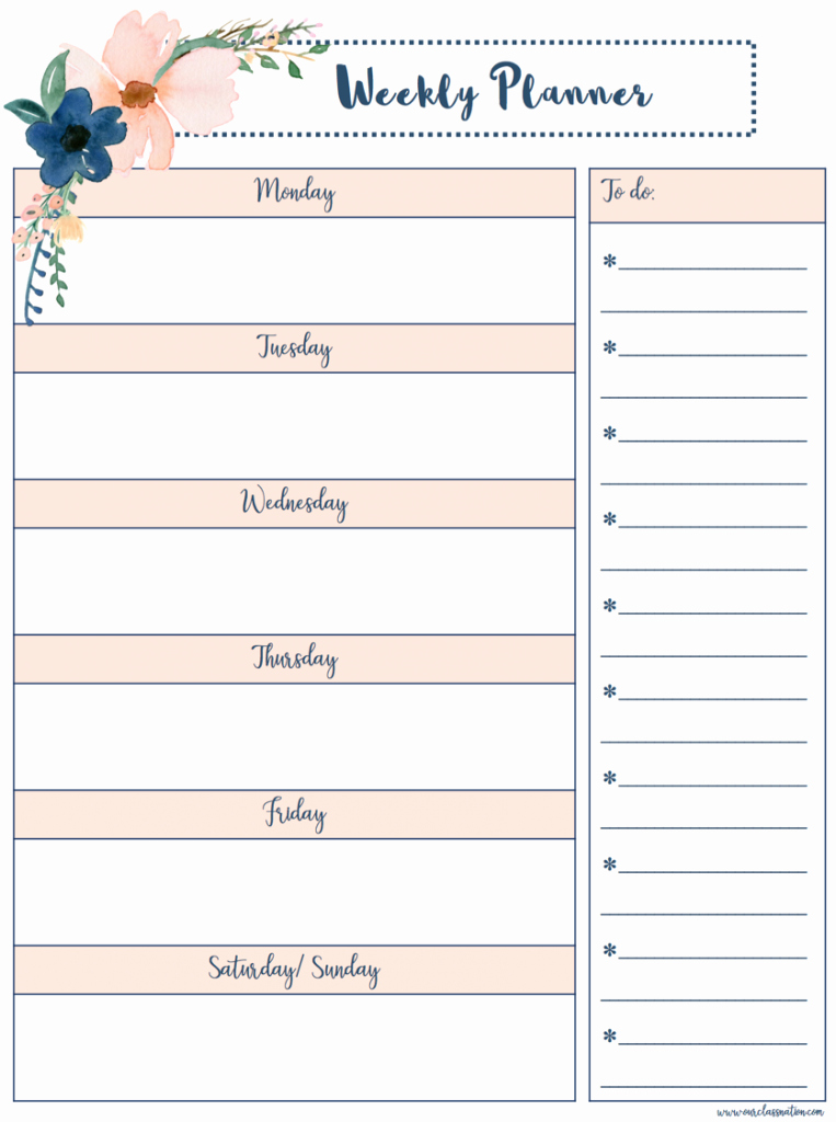 Printable Weekly Calendars with Times New Free Printable Weekly Planner – Our Class Nation