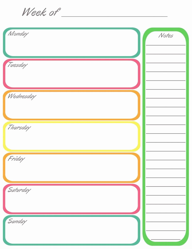 Printable Weekly Calendars with Times Unique Weekly Calendar Print Out